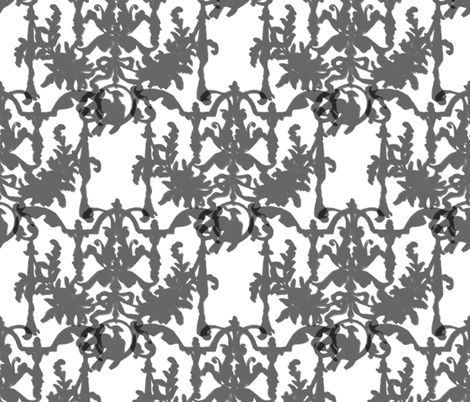 1892 Bird On a Wire Damask ~ Silhouettes fabric by peacoquettedesigns on Spoonflower - custom fabric