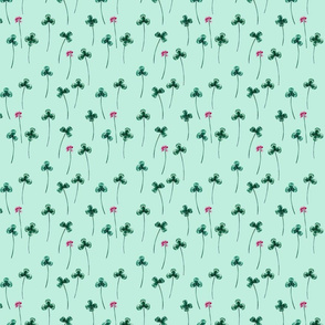 Shamrock Field with Flowers in Mint and Pink