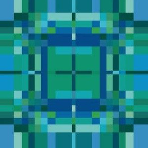 Blue Green Pixellated Geometric 2 © Gingezel™