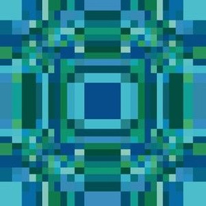 Blue Green Pixelated Geometric © Gingezel™