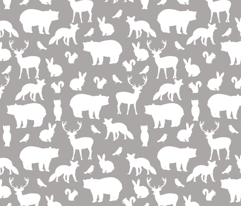 Woodland party on grey big fabric by mintpeony on Spoonflower - custom fabric