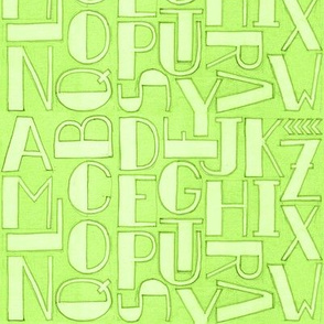 Alphabet in pea green
