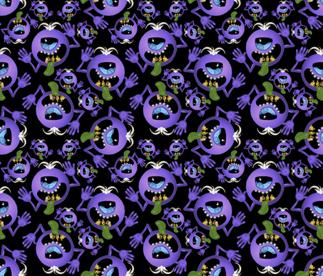 Purple People Eater ditzy on black fabric by whimzwhirled on Spoonflower - custom fabric