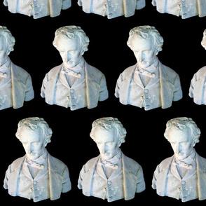Poe Bust on Black Background