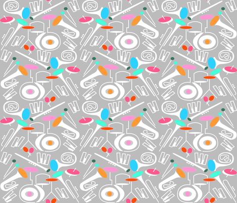 Sound of jazz (pastel pink) fabric by les_motifs_de_sarah on Spoonflower - custom fabric
