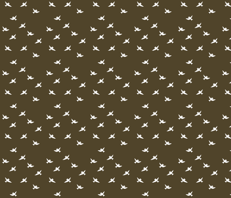 OISEAUX_SUR_BRANCHE_marron_3 fabric by aliceandcodesigns on Spoonflower - custom fabric