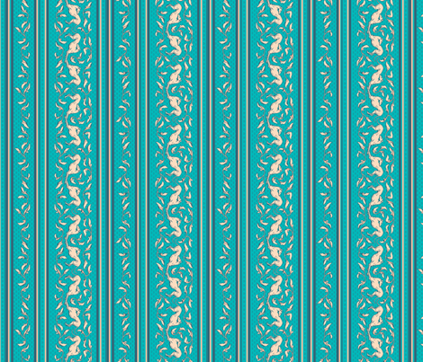 Art Nouveau Greyhound Dogs:  teal and cream fabric by artbyjanewalker on Spoonflower - custom fabric