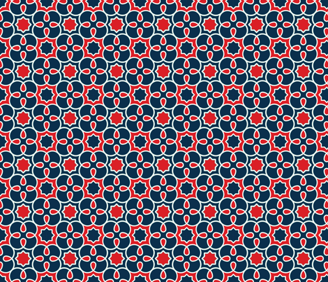 Geometric Loopy - Red and Blue - Quilting Scale fabric by anntuck on Spoonflower - custom fabric