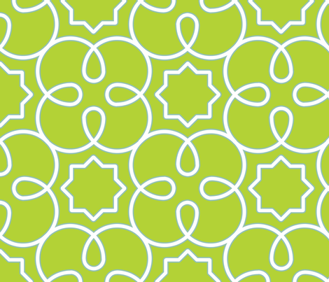 Geometric Loopy - Green fabric by anntuck on Spoonflower - custom fabric