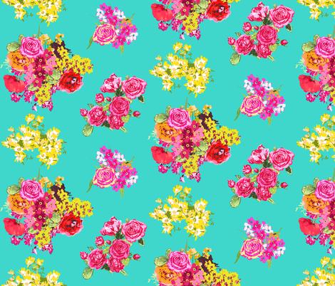 aqua turquoise print fabric by katarina on Spoonflower - custom fabric