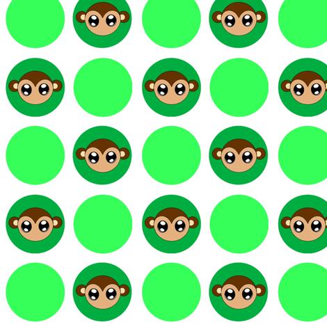 Green Small Monkey Polka Dots fabric by jenfur on Spoonflower - custom fabric