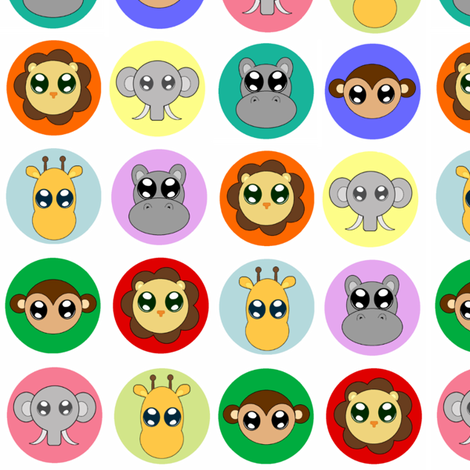 Baby Animals on White fabric by jenfur on Spoonflower - custom fabric