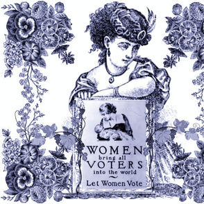 WOMEN VOTERS BLUE TOILE PILLOW