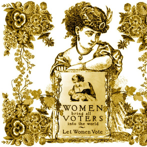WOMEN VOTERS GOLDEN TOILE PILLOW
