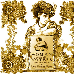 WOMEN VOTERS BRONZE TOILE PILLOW