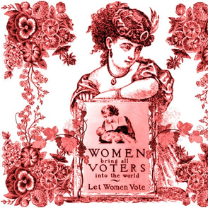 WOMEN VOTERS RED TOILE PILLOW