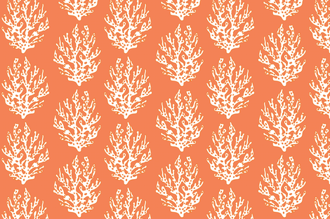 Large Coral Branch Papaya fabric by lulabelle on Spoonflower - custom fabric