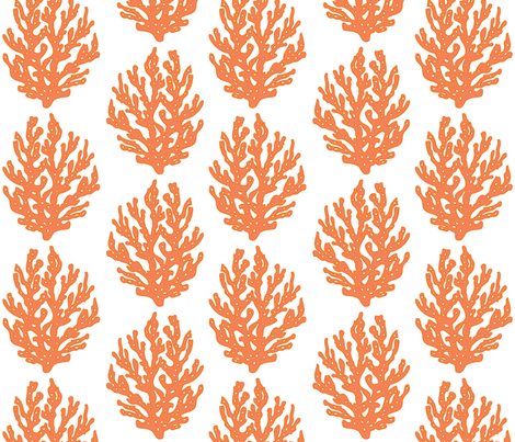 Coral Branch Papaya Reverse fabric by lulabelle on Spoonflower - custom fabric