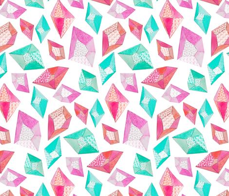 Watercolor Pattern Gemstones fabric by emilysanford on Spoonflower - custom fabric