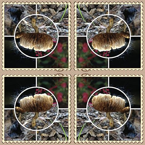 Mushroom Collage Postage Stamp Fabric
