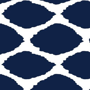 Navy Oval Ikat