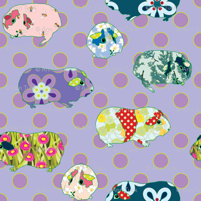 Guinea Pig Applique - Purple