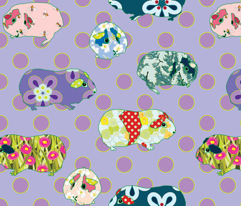 Guinea Pig Applique - Purple fabric by anntuck on Spoonflower - custom fabric