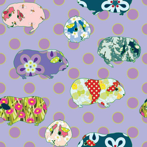 Guinea Pig Applique - Purple