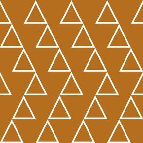 Dancing Triangles- white on bronze-EK