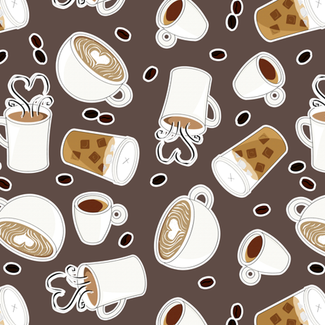 Coffee Lover - Brown and Gray fabric by jannasalak on Spoonflower - custom fabric