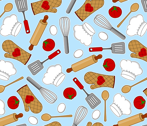 In the Kitchen - Blue fabric by jannasalak on Spoonflower - custom fabric