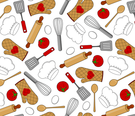 In the Kitchen - White fabric by jannasalak on Spoonflower - custom fabric
