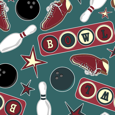 Retro Bowling fabric by jannasalak on Spoonflower - custom fabric