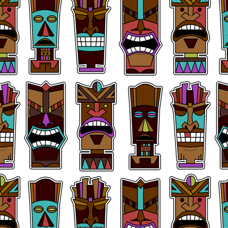 Tiki Party - White fabric by jannasalak on Spoonflower - custom fabric