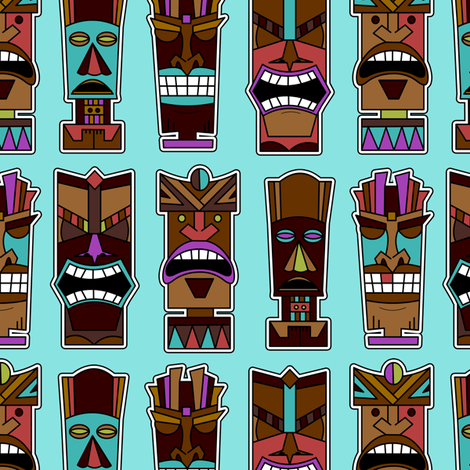 Tiki Party - Blue fabric by jannasalak on Spoonflower - custom fabric