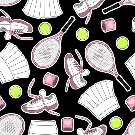 Tennis Love - Black fabric by jannasalak on Spoonflower - custom fabric