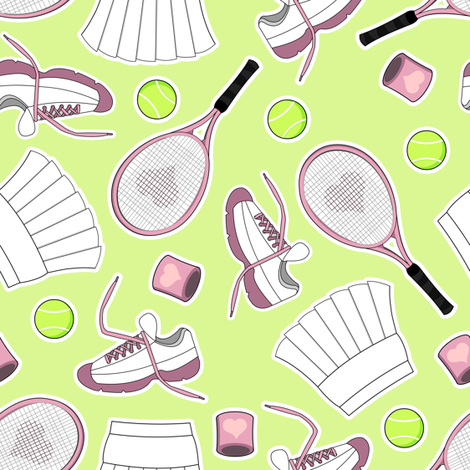 Tennis Love - Green fabric by jannasalak on Spoonflower - custom fabric