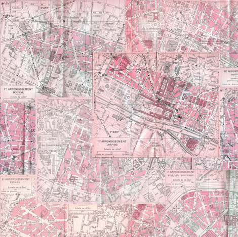 Paris City of Love Maps fabric by smart_cats on Spoonflower - custom fabric