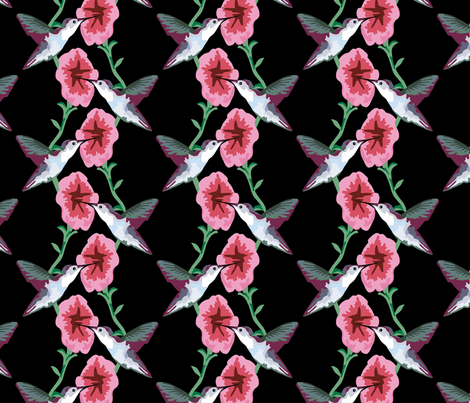 hummingbird black fabric by jenny_wilkinson on Spoonflower - custom fabric