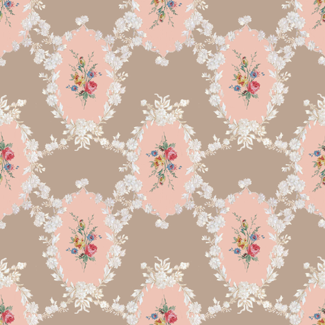 Rose bouquet cameo fabric by parisbebe on Spoonflower - custom fabric