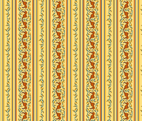 Art Nouveau Greyhounds:  yellow, red, teal fabric by artbyjanewalker on Spoonflower - custom fabric
