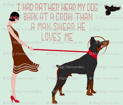 Hear my dog bark -  cross stitch -(teal)