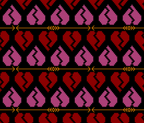 Broken Hearts and Crashing Arrows fabric by illustrative_images on Spoonflower - custom fabric