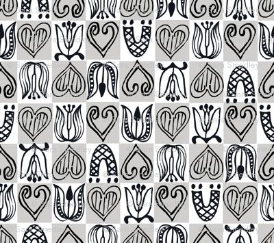 Dutch Hearts - gray & white