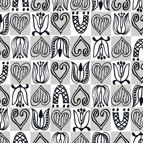 Dutch Hearts - gray & white fabric by sara_smedley on Spoonflower - custom fabric