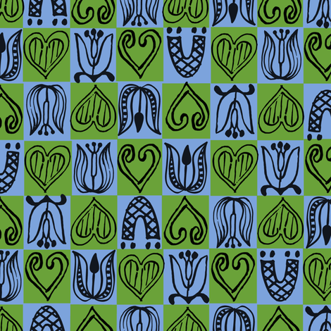 Dutch Hearts - blue & green fabric by sara_smedley on Spoonflower - custom fabric