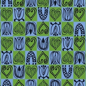 Dutch Hearts - blue & green