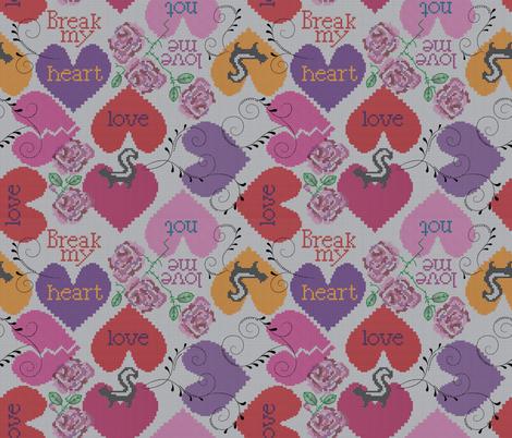 stitch my broken heart fabric by liluna on Spoonflower - custom fabric