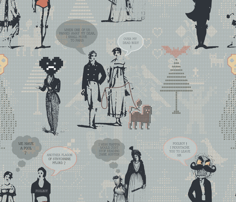 Jane Austen Unhinged fabric by chickoteria on Spoonflower - custom fabric