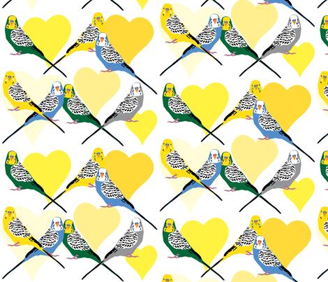 I Heart Budgies - Yellow fabric by owlandchickadee on Spoonflower - custom fabric